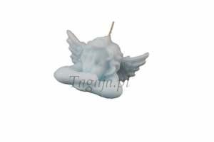 świeczka aniołek ze skrzydłami w kolorze błękitnym