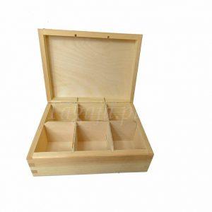 drewniana herbaciarka do decoupage 6 komorowa